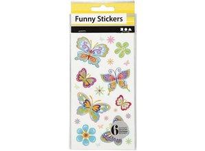 Sticker Sjove klistermærker, Butterfly, 6 assorterede plader