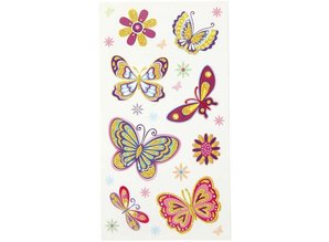 Sticker Adesivi divertente, farfalla, 6 fogli assortiti