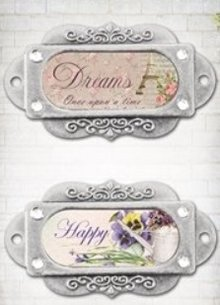 "Embellishments / Verzierungen Metal frames, ornaments, ""Franch Journal"", 2 pieces"