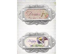 """Embellishments / Verzierungen Los marcos de metal, adornos, """"Franch Journal"""", de 2 piezas"""