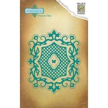Vintasia reliëf en snijden sjabloon, romantische frame met Grid