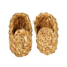 Objekten zum Dekorieren / objects for decorating Scarpe di paglia nostalgico bella qualità, L: 8 cm, 1 coppia