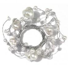 Embellishments / Verzierungen Pearl Anello con diametro anello cuori 3 cm PVC scatola 1 pezzo, bianco