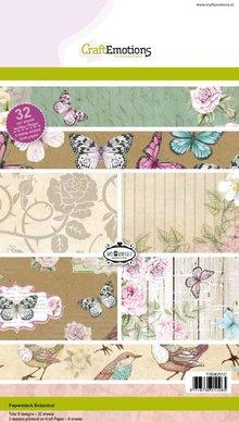 Crealies und CraftEmotions Kraft Papierblock, Botanical Druck, 32 Bogen A5