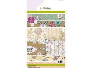 Crealies und CraftEmotions Kraft Block, Botanisk tryk, 32 ark A5