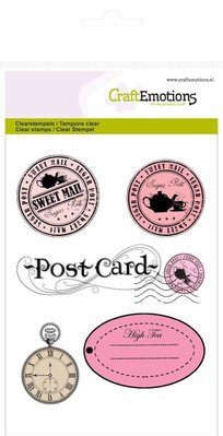 Crealies und CraftEmotions Timbri trasparenti A6, Etichette + Postcard