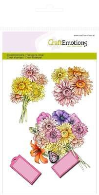 Crealies und CraftEmotions Timbri trasparenti, rose High Tea Rose, 4 disegni