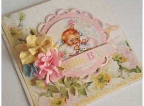 Designer Papier Scrapbooking: 30,5 x 30,5 cm Papier Tilbage på lager! Hej Baby Nr08, designer papir, 30,5 x 30,5 cm