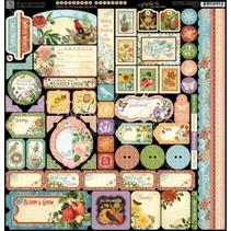 Tid til at blomstre - Sticker sheet 30,5 x 30,5cm