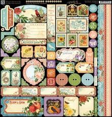 Graphic 45 Tid til at blomstre - Sticker sheet 30,5 x 30,5cm