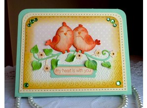 Cottage Cutz Stamping and embossing stencil, Sweetheart Lovebirds (4x4)