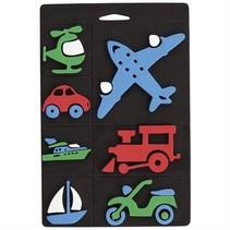 Conjunto de sello de espuma, transporte, tren y avión para los niños