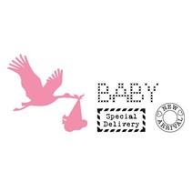 Corte y estampación plantillas, de colección, Cigüeña con el sello del bebé +