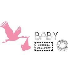 Marianne Design Taglio e goffratura stencil, Collezionismo, cicogna con bambino + stamp