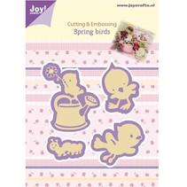 Joy Crafts, stempling - og prægning stencil, Forår Fugle