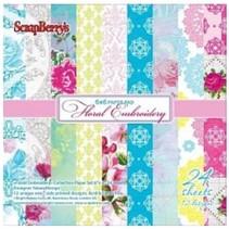 Papel Scrapbooking, floral bordado