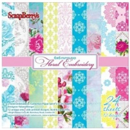 Wild Rose Studio`s Scrapbooking Paper, Floral Embroidery