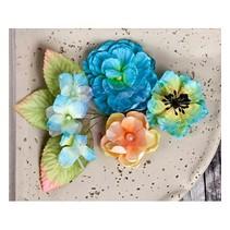 Prima Flowers, Blumen mit Blätter, 9 Stück, 2.54 - 7cm