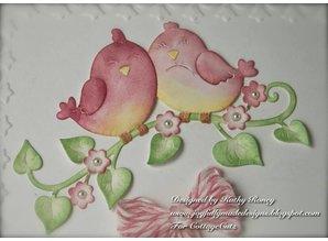 Cottage Cutz Stempling og prægning stencil, Sweetheart Lovebirds (4x4)