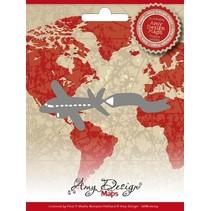 Corte y estampación plantillas, Amy Diseño Mapas, aviones