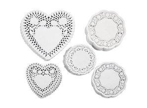 50 doilies in different forms with pretty patterns
