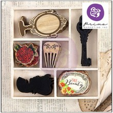 Scrapbooking ... Ornamenti, parti in legno: Bella rouge