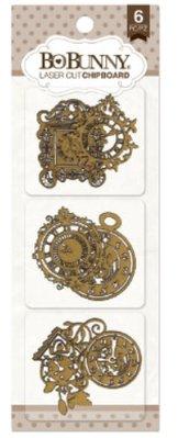 Embellishments / Verzierungen Ornaments: Bo Bunny laser cut chipboard timepiece