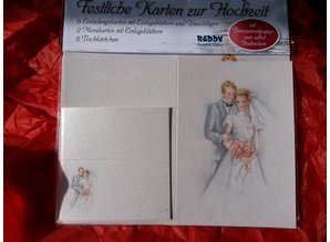 BASTELSETS / CRAFT KITS: Edeles af kort til festlige lejligheder, Wedding hvid-blå
