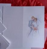 BASTELSETS / CRAFT KITS: Edeles Kartenset zu festliche Anlässe, Brautpaar weiss-blau