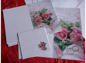 BASTELSETS / CRAFT KITS: Edeles af kort til festlige lejligheder, vielsesringe med lyserøde roser