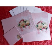 Edeles Kartenset zu festliche Anlässe, Eheringe mit weissen Rosen