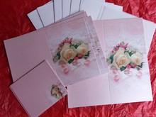 BASTELSETS / CRAFT KITS: Edeles di carte per occasioni festive, anelli di nozze con rose bianche