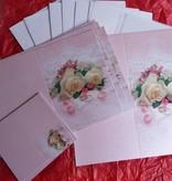 BASTELSETS / CRAFT KITS: Edeles af kort til festlige lejligheder, vielsesringe med hvide roser