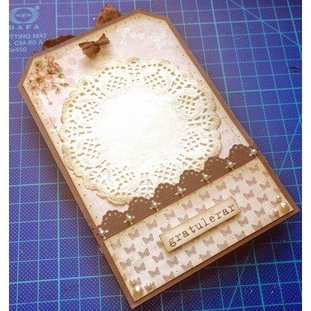 Objekten zum Dekorieren / objects for decorating 5 etiketter, størrelse 8x13 cm, hul størrelse 6x20