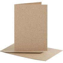 Set: kaarten en enveloppen, kaartformaat 7,5x10,5 cm, natuur