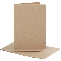 Set: Karten und Umschläge , Kartengröße 7,5x10,5 cm, natur