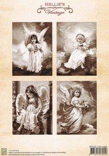 Nellie snellen Decoupage A4 ark, små engle