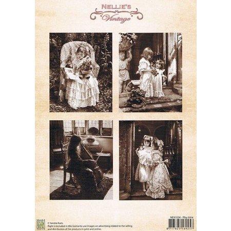 Nellie snellen Decoupage Bogen A4, vintage play time