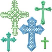Spellbinders, troquelado y estampado en relieve plantilla Shapeabilities, cruces