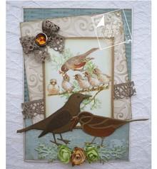 Joy!Crafts und JM Creation Skæring og prægning stencils, Spring Kærlighed, fugle