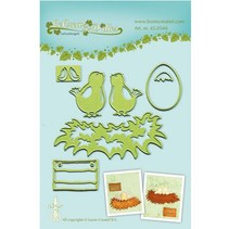 Leabilities, stamping - and embossing stencil Young birds with nest
