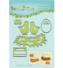 Leane Creatief - Lea'bilities Leabilities, stampaggio - e goffratura stencil giovani uccelli con nido