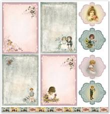 "Designer Papier Scrapbooking: 30,5 x 30,5 cm Papier Design papir ""Børne / baby 4"" nostalgi Pur!"