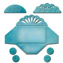Spellbinders und Rayher Spellbinders, presning og Embossing Stencil, Shapeabilities i 3 forskellige mini kuvert