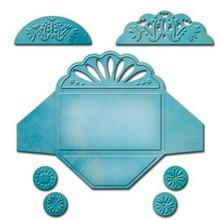 Spellbinders und Rayher Spellbinders, Stampaggio e goffratura Stencil, Shapeabilities da 3 mini busta diversa