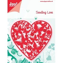 Joy Crafts, ponsen - en embossing sjabloon, hart vol vlinders