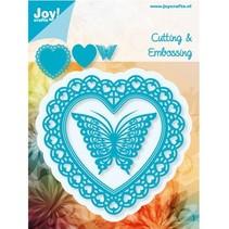 Joy Crafts, stampen - en embossing stencil, Filigranes hart met vlinder