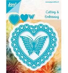 Joy!Crafts und JM Creation Joy Crafts, stempling - og prægning stencil, Filigränes hjerte med sommerfugl