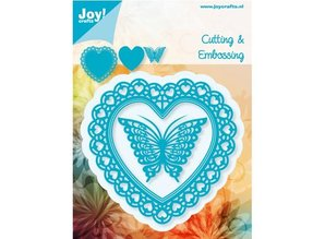 Joy!Crafts und JM Creation Joy Crafts, Stanz - und Prägeschablone, Filigränes Herz mit Schmetterling