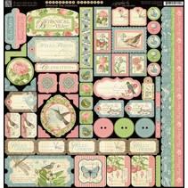 Designer papir, 30,5 x 30,5 cm Stickerbogen